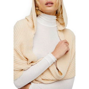 Free People Hooded Infinity Scarf Taupe NWT